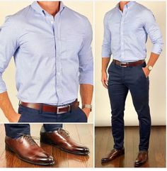 Here's some outfit inspiration for Monday and the start of your week tomorrow❗️😎💡📆 I love how well this belt matches these… Blue Pants Outfit, Stylish Men, Men Casual, Formal Men Outfit, Style Masculin, Look Man, Man Dressing Style, Herren Outfit, Business Casual Outfits