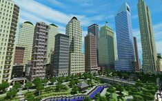 View of Middle Park South East Minecraft Park, Minecraft Modern City, Minecraft Skyscraper, Minecraft City Buildings, Easy Minecraft Houses, Minecraft Decorations, Minecraft Architecture, Minecraft Blueprints, Minecraft Creations