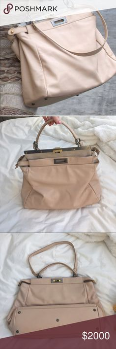 Fendi large peekaboo in pale pink Fendi large peekaboo in pale pink. Lambskin leather and soft suede interior. Please see photos for details. Feel free to ask any questions and make offers using the offer button! Fendi Bags Satchels
