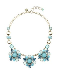 White House | Black Market Cerulean Faceted Triple Flower Necklace - Pretty for spring!