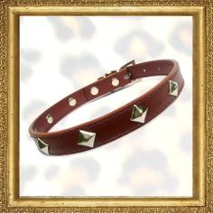 Luxury big stud dog collar, high quality collar in chocolate brown, with silver pyramid studs.