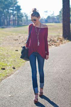 Cranberry half tuck top skinny jeans