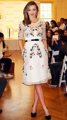Miranda Kerr Touts Her KORA Organics Line in Erdem's Neon Embroidered Dress