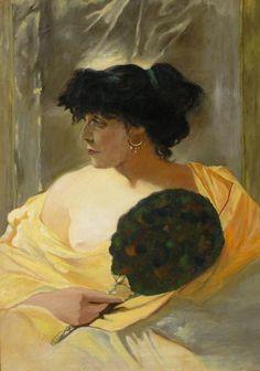 Piotr STACHIEWICZ ,Portret kobiety z wachlarzem wg obrazu Franciszka Żmurki , olej, płótno, 72 x 52 cm