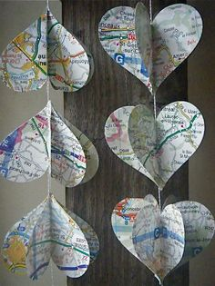 Heart Strings- decorations with maps or paper