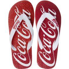 Coca Cola flip flops from Wet Seal Coca Cola Gifts, Coca Cola Decor, Coca Cola Ad, Always Coca Cola, World Of Coca Cola, Coca Cola Bottles, Glitter Flats, Red Glitter, Coca Cola Vintage