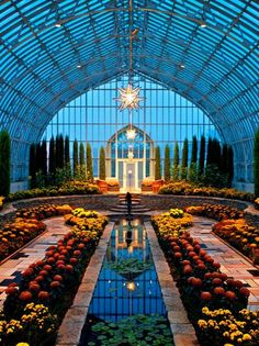 The Sunken Garden is all decked out for Fall at the Marjorie McNeely Conservator. - The Sunken Garden is all decked out for Fall at the Marjorie McNeely Conservatory in St. The Places Youll Go, Places To Visit, Sunken Garden, Beautiful Architecture, Minnesota, Places To Travel, Beautiful Places, Scenery, Castle