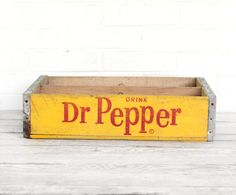 vintage yellow and red dr pepper crate by lacklusterco on Etsy, $32.00
