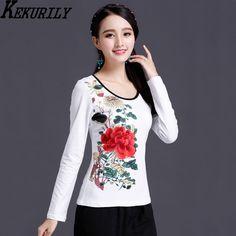 KEKURILY feminist chinese floral embroidery tshirt plus size 3xl 4xl 5xl 6xl tops aesthetic women 100 cotton vintage retro shirt #tshirt #tshirtwomen