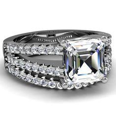 2.10 Ct Asscher Cut Diamond Wedding Rings Pave-Set for only $20,880.00 #diamonds #weddingrings #diamondrings