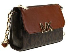 Michael Kors Florence Crossbody Shoulder Bag Purse (Brown). Michael Kors crossbody with gold toned hardware. Top zip closure; Front pocket with flap and snap closure. Back slip pocket; Adjustable chain and leather strap with a maximum drop of approx. 25 inches. Interior features 1 zip pocket and 3 card slots. Approx. dimensions: 7.5 in L x 5 in H x 2.75 in W.