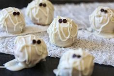 Use white chocolate + Greek yogurt to make Skinny Mummy Cake Balls.