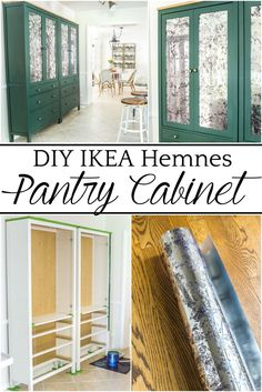 DIY IKEA Hemnes Pantry Cabinet | blesserhouse.com - How to turn an IKEA Hemnes cabinet in a pantry and give it a custom high-end look with antique mirror window film. #IKEAhack #pantry