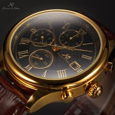 KS Imperial Day Date Month Display Leather Wrist Men Automatic Mechanical Watch Rolex Watches, Watches For Men, Men's Day, Mechanical Watch, Automatic Watch, Gold Watch, Black Leather, Mens Fashion, Luxury