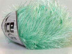 Mint Eyelash Yarn, Green fun fur yarn, Novelty Yarn, 82 yards per skein, Ice Yarns # 22782 - pinned by pin4etsy.com