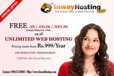 Inway Hosting offers Free domains for every Unlimited Web Hosting plans with 24x7 technical support