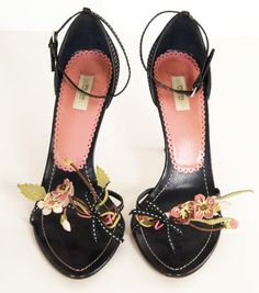 Prada Black Open-toe Heels with Leather Floral Trim