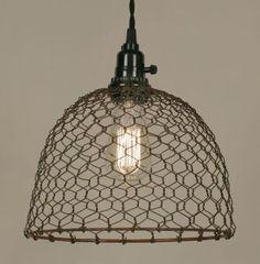 Chicken-Wire-Dome-Pendant-Lamp-Primitive-Rust-finish