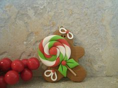 Gingerbread Man y Lollipop - ornamento de la Navidad
