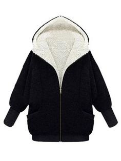 Shop Black Hooded Coat With Faux Fur Lined from choies.com .Free shipping Worldwide.$49.59