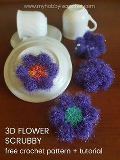 3D Flower Scubby - Free Crochet Pattern + Tutorial