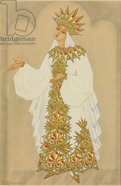 Costume design for Ludmila from the opera 'Ruslan and Ludmila' (gouache, heightened with gold) by Boris Bilinsky is inspired by the old Russian outfits