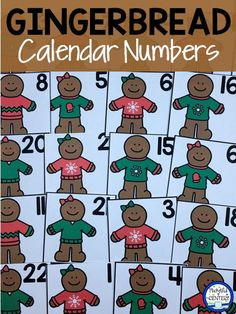 Gingerbread Calendar Number Card Printables for December include 5 sets of gingerbread boys and girls in winter sweaters. Make AB, ABB, AAB,ABC patterns!