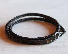 Mens Leather Bracelet with darkened silver by ChickpeaDesignStudio, $69.00