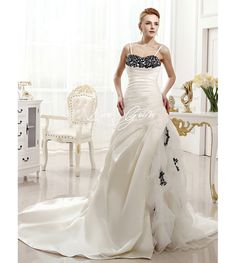Chic A-line Chapel Train Ruched Ivory Bridal Wedding Dress withSpaghetti Straps  $239.45