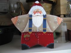 Santa painted on a star cardboard box from Michaels