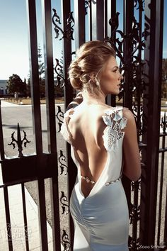 #2013 #wedding #dress #satin #backless with #jeweled #cap #sleeves