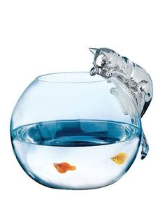 Love this glass fish bowl with cat