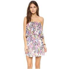 MISA Jena Dress ($195) ❤ liked on Polyvore featuring dresses, multi, smock dress, pink ruched dress, pink dress, smocked strapless dress and misa
