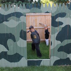 building an outdoor kids fort inspired by this old house, outdoor living, Fierce warriors Nah they turn to mush when you give them milk and cookies Outdoor Fun For Kids, Outdoor Activities For Kids, Backyard For Kids, Kids Yard, Backyard Ideas, Wall Bookshelves Kids, Outdoor Forts, Diy Fort, Backyard Fort