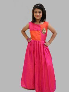 Shop Pretty magenta silk girls gown online from India. Long Frocks For Girls, Gowns For Girls, Girls Dresses, Girls Frocks, Frock Patterns, Baby Girl Dress Patterns, Kids Lehenga, Baby Lehenga, Kids Blouse Designs