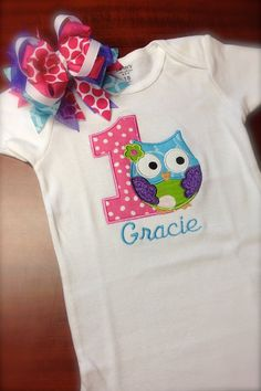 First birthday owl onesie.......love the owl idea! Just change number for child's age