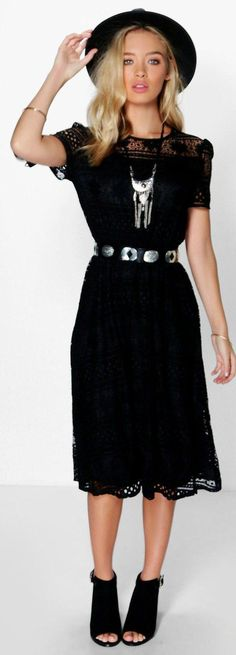 Tisha Tie Sleeve Corded Lace Midi Dress - Dresses  - Street Style, Fashion Looks And Outfit Ideas For Spring And Summer 2017