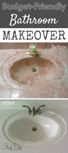 Repaint your  bathroom sink! Repurpose an ugly sink and get a whole new look with just paint. Here's how I transformed this 80s pink bathroom into a modern, gray & white using paint! It's a budget-friendly bathroom makeover and DIY home project. Cheryl Phan @ArtzyFartzyCreations