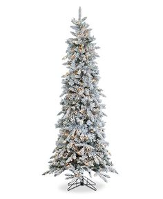 Sterling 7.5' Pre-Lit Narrow Flocked Pine Christmas Tree