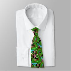 Green Dragon with Cherry Blossoms Tie