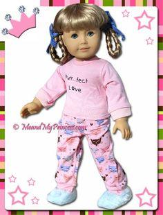 "american girl doll pajamas/big girl pajamas   18"" Doll Clothes Fun Kitty Cat Pajamas and Slippers fits American Girl"