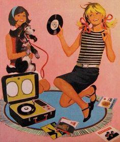 60s turntable vinyl illustration