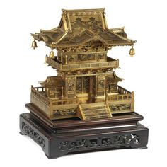 An inlaid iron cabinet modelled as a shrine by the Komai Company, Meiji period Chinese Buildings, Ancient Chinese Architecture, Japanese Architecture, Beautiful Architecture, Architecture Office, Futuristic Architecture, Japan Crafts, Meiji Era, Historical Artifacts