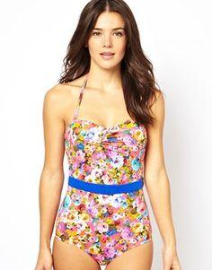 ASOS Savannah Floral Belted Bandeau Swimsuit