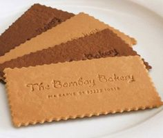 We don't do edible business cards, but this is still a cool & delicious idea! Bombay Bakery Cookies Business Cards #logo #food