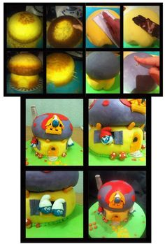 SMURFS HOUSE CAKE http://karmascakes.blogspot.com.es/2012/02/tarta-pitufos-con-tutorial.html
