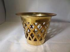 Brass tea light holder home decor Pierced sides hexagonal