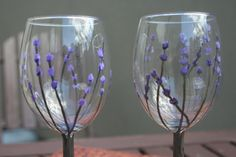 Hand Painted Lavender Wine Glasses by jennieMarieArts on Etsy, $30.00