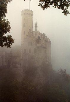 Schloss Lichtenstein, cliff castle located near Honau in the Swabian Alb, Baden-Württemberg, Germany.