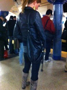Elliott Lucca Catina Drawstring Spotted at the Path Train, Hoboken, NJ